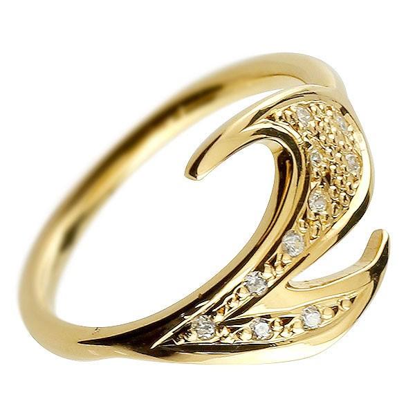 ピンキーリング ダイヤモンド ナンバー2 イエローゴールドk10 10金 リング 指輪 数字 ストレート 送料無料