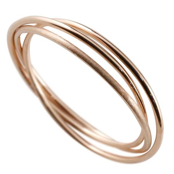 ピンキーリング ピンクゴールドk18 指輪 華奢 重ね付け3連 地金リング 宝石なし 18金 ストレート 送料無料