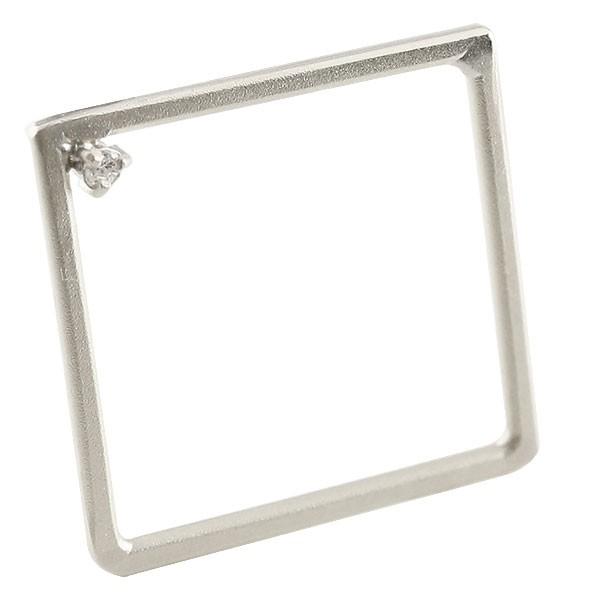 ピンキーリング リング ダイヤモンド スクエア ホワイトゴールドk18 指輪 四角 ホーニング 送料無料