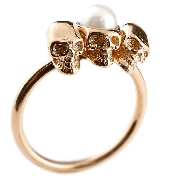 ピンキーリング ドクロ パール 指輪 ピンクゴールドk10 髑髏 スカル レディース 10金 真珠 フォーマル 送料無料