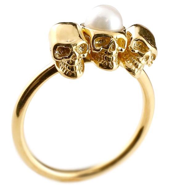 ピンキーリング ドクロ パール 指輪 イエローゴールドk18 髑髏 スカル レディース 18金 真珠 フォーマル 送料無料