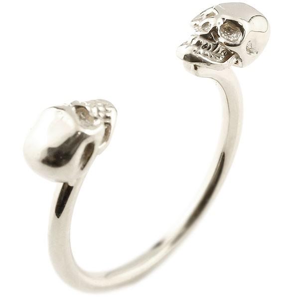 プラチナリング ドクロ フォークリング 指輪 フリーサイズ ピンキーリング pt900 髑髏 スカル レディース 送料無料
