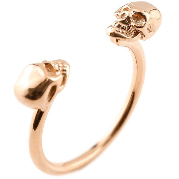 ドクロ フォークリング 指輪 フリーサイズ ピンキーリング ピンクゴールドk18 髑髏 スカル レディース 18金 送料無料