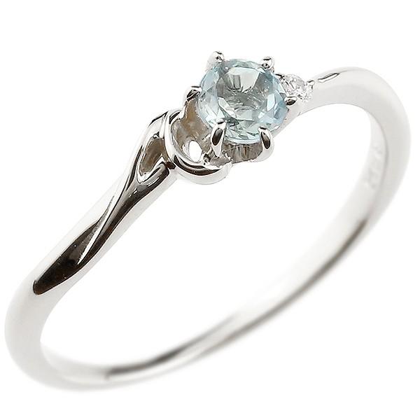 イニシャル ネーム A ピンキーリング アクアマリン ダイヤモンド 華奢リング プラチナ 指輪 アルファベット レディース 3月誕生石 人気 送料無料