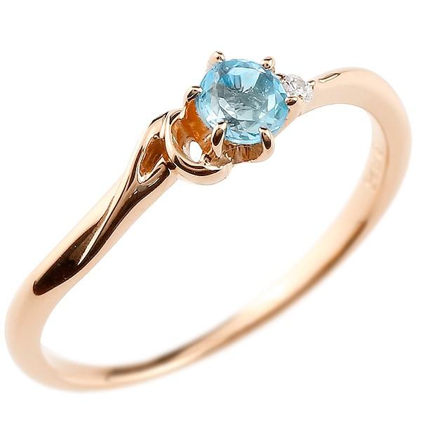 イニシャル ネーム A ピンキーリング ブルートパーズ ダイヤモンド 華奢リング ピンクゴールドk10 指輪 アルファベット 10金 レディース 11月誕生石 人気