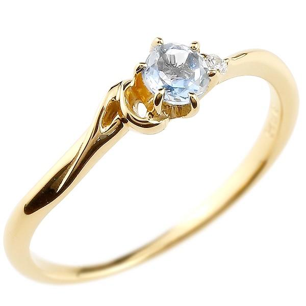 イニシャル ネーム A ピンキーリング ブルームーンストーン ダイヤモンド 華奢リング イエローゴールドk10 指輪 アルファベット 10金 レディース 6月誕生石
