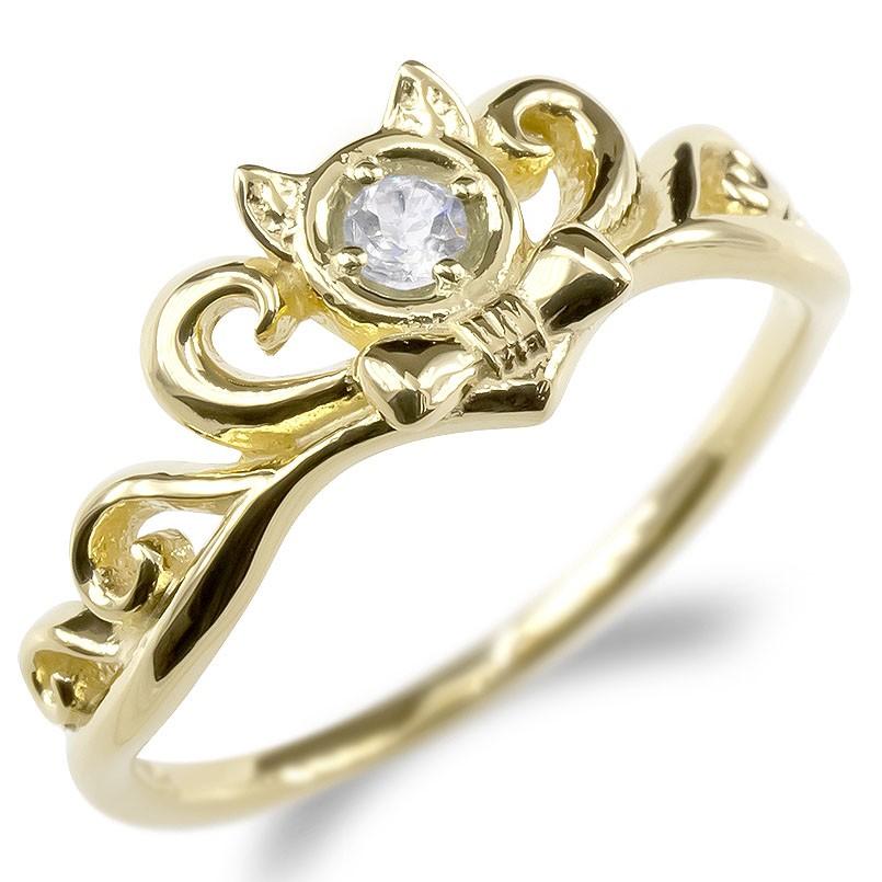 ゴールド リング レディース ダイヤモンド 猫 指輪 10k イエローゴールドk10 ティアラ リボン 婚約指輪 安い エンゲージリング ピンキーリング ネコ 送料無料
