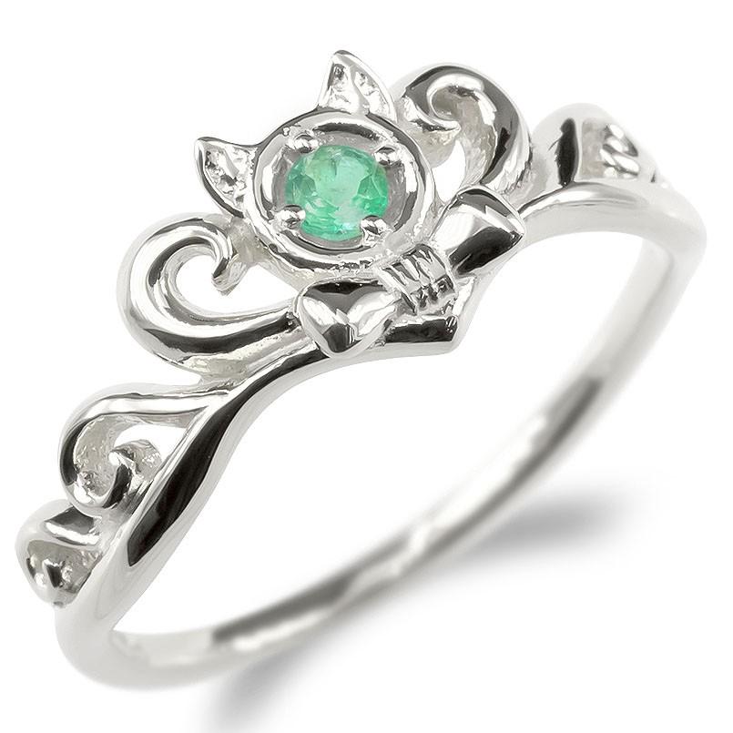 ゴールド リング レディース エメラルド 猫 指輪 ホワイトゴールドk10 ティアラ リボン 婚約指輪 安い エンゲージリング ピンキーリング 女性 ネコ 送料無料