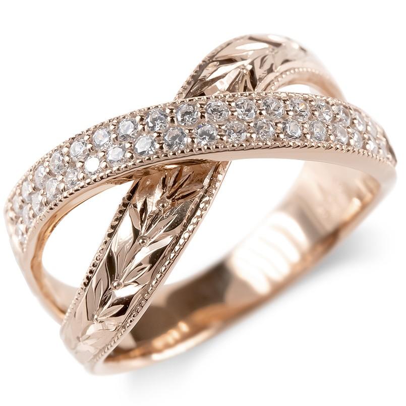 ゴールド リング ダイヤモンド 月桂樹 レディース 指輪 ミル打ち 10k ピンクゴールドk10 婚約指輪 安い エンゲージリング ピンキーリング 幅広 送料無料