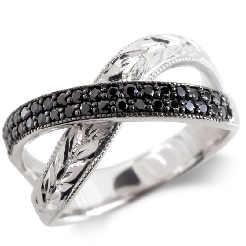 シルバー リング ブラックダイヤモンド 月桂樹 レディース 指輪 ミル打ち sv925 婚約指輪 安い エンゲージリング ピンキーリング リング 幅広 女性 送料無料