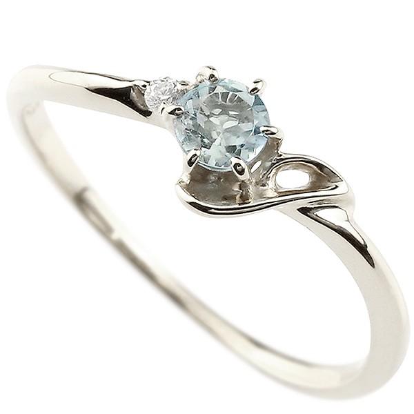 イニシャル ネーム J ピンキーリング アクアマリン ダイヤモンド 華奢リング プラチナ 指輪 アルファベット レディース 3月誕生石 人気 送料無料