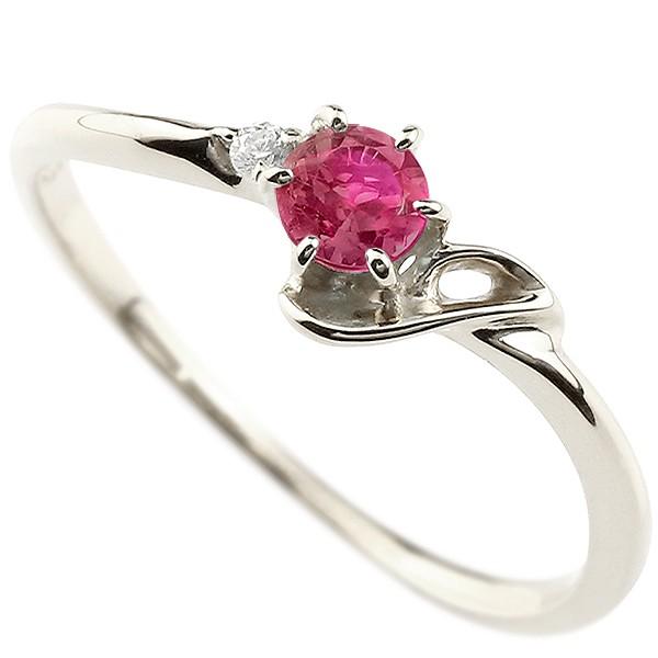 イニシャル ネーム J ピンキーリング ルビー ダイヤモンド 華奢リング プラチナ 指輪 アルファベット レディース 7月誕生石 人気 送料無料