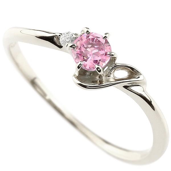 イニシャル ネーム J ピンキーリング ピンクサファイア ダイヤモンド 華奢リング プラチナ 指輪 アルファベット レディース 9月誕生石 人気 送料無料