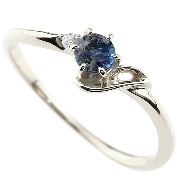 イニシャル ネーム J ピンキーリング ブルーサファイア ダイヤモンド 華奢リング プラチナ 指輪 アルファベット レディース 9月誕生石 人気 送料無料