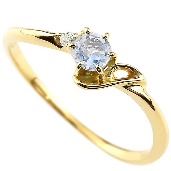 イニシャル ネーム J ピンキーリング ブルームーンストーン ダイヤモンド 華奢リング イエローゴールドk10 指輪 アルファベット 10金 レディース 6月誕生石