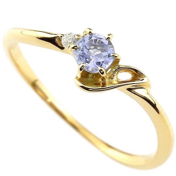 イニシャル ネーム J ピンキーリング タンザナイト ダイヤモンド 華奢リング イエローゴールドk18 指輪 アルファベット 18金 レディース 12月誕生石 人気