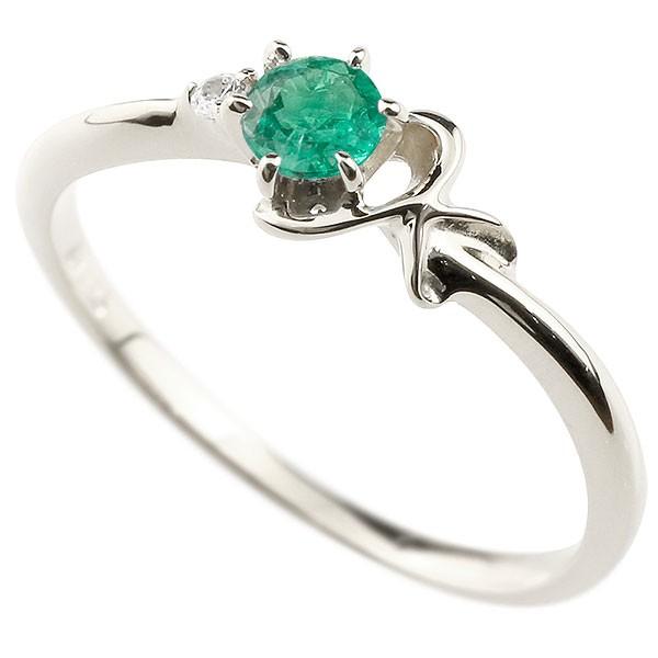 イニシャル ネーム K ピンキーリング エメラルド ダイヤモンド 華奢リング プラチナ 指輪 アルファベット レディース 5月誕生石 人気 送料無料