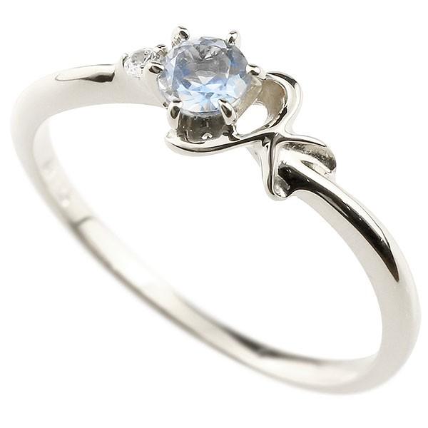 イニシャル ネーム K ピンキーリング ブルームーンストーン ダイヤモンド 華奢リング ホワイトゴールドk10 指輪 アルファベット 10金 レディース 6月誕生石