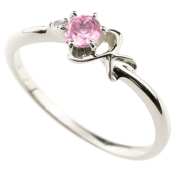 イニシャル ネーム K ピンキーリング ピンクサファイア ダイヤモンド 華奢リング ホワイトゴールドk10 指輪 アルファベット 10金 レディース 9月誕生石 送料無料