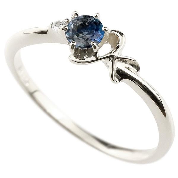 イニシャル ネーム K ピンキーリング ブルーサファイア ダイヤモンド 華奢リング ホワイトゴールドk10 指輪 アルファベット 10金 レディース 9月誕生石 送料無料