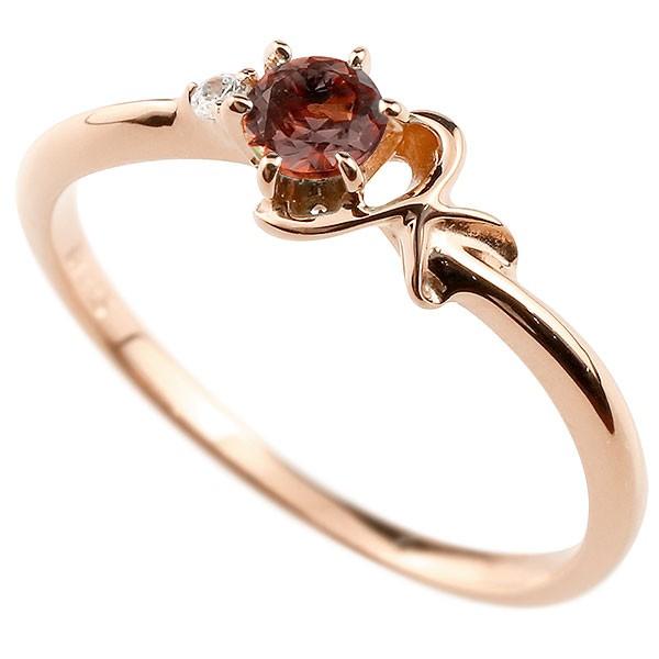 イニシャル ネーム K ピンキーリング ガーネット ダイヤモンド 華奢リング ピンクゴールドk10 指輪 アルファベット 10金 レディース 1月誕生石 人気 送料無料