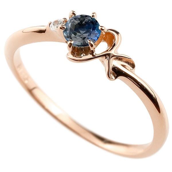 イニシャル ネーム K ピンキーリング ブルーサファイア ダイヤモンド 華奢リング ピンクゴールドk18 指輪 アルファベット 18金 レディース 9月誕生石 人気