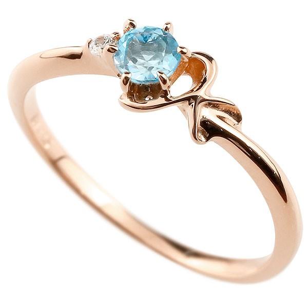 イニシャル ネーム K ピンキーリング ブルートパーズ ダイヤモンド 華奢リング ピンクゴールドk10 指輪 アルファベット 10金 レディース 11月誕生石 人気
