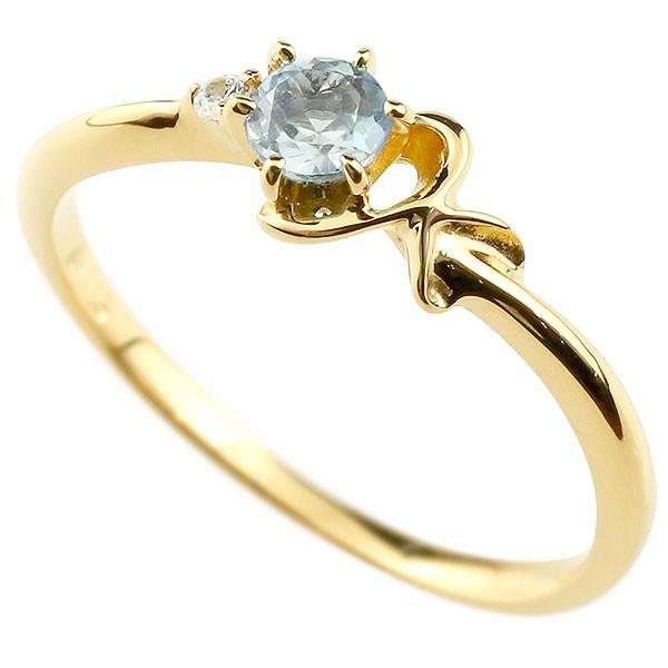 イニシャル ネーム K ピンキーリング アクアマリン ダイヤモンド 華奢リング イエローゴールドk10 指輪 アルファベット 10金 レディース 3月誕生石 人気