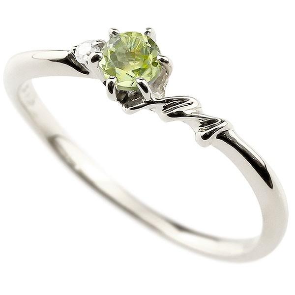 イニシャル ネーム M ピンキーリング ペリドット ダイヤモンド 華奢リング プラチナ 指輪 アルファベット レディース 8月誕生石 人気 送料無料