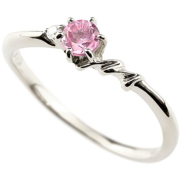 イニシャル ネーム M ピンキーリング ピンクサファイア ダイヤモンド 華奢リング プラチナ 指輪 アルファベット レディース 9月誕生石 人気 送料無料