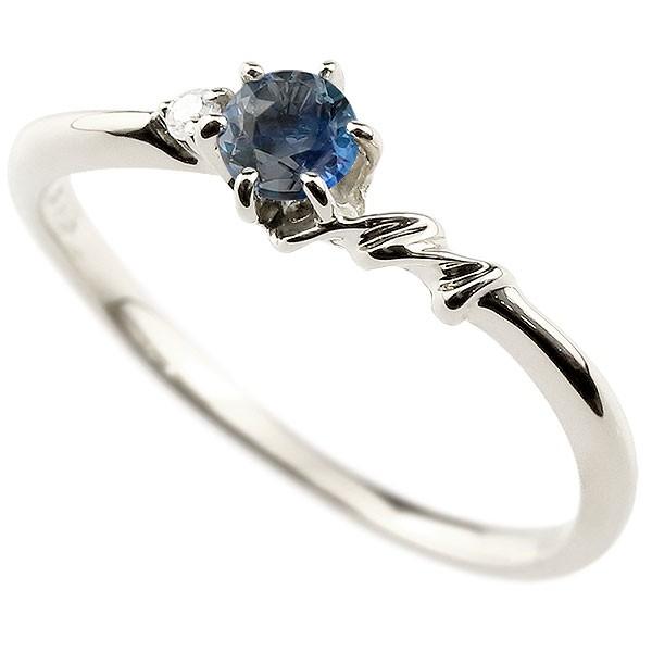 イニシャル ネーム M ピンキーリング ブルーサファイア ダイヤモンド 華奢リング プラチナ 指輪 アルファベット レディース 9月誕生石 人気 送料無料