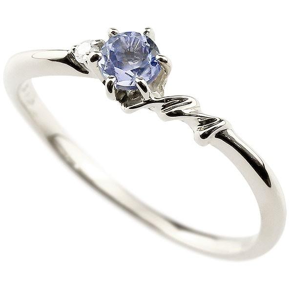 イニシャル ネーム M ピンキーリング タンザナイト ダイヤモンド 華奢リング ホワイトゴールドk10 指輪 アルファベット 10金 レディース 12月誕生石 人気