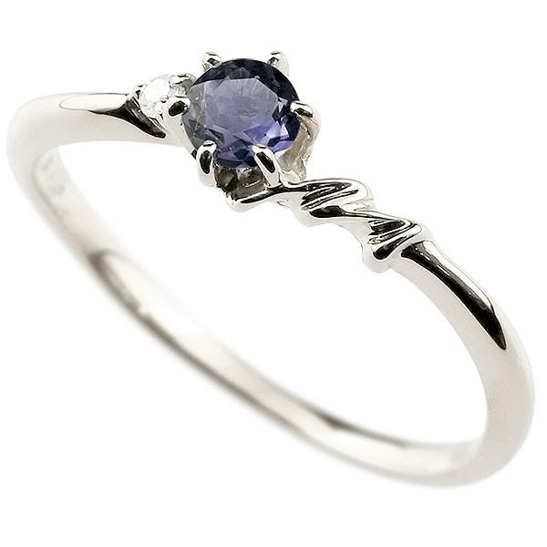 イニシャル ネーム M ピンキーリング アイオライト ダイヤモンド 華奢リング プラチナ 指輪 アルファベット レディース 人気 送料無料