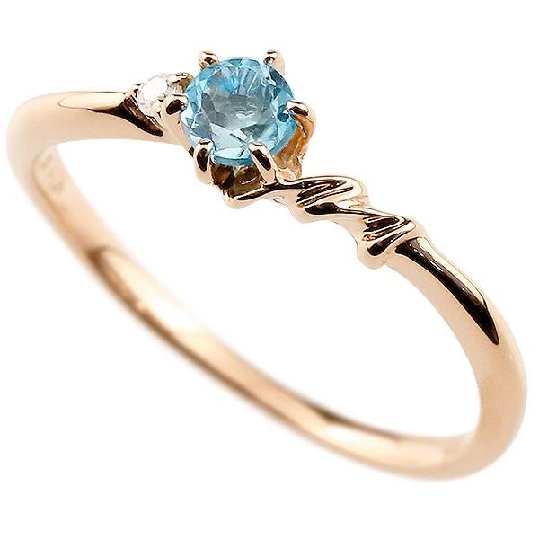 イニシャル ネーム M ピンキーリング ブルートパーズ ダイヤモンド 華奢リング ピンクゴールドk10 指輪 アルファベット 10金 レディース 11月誕生石 人気