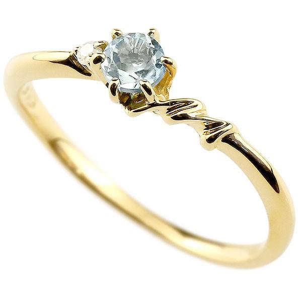 イニシャル ネーム M ピンキーリング アクアマリン ダイヤモンド 華奢リング イエローゴールドk10 指輪 アルファベット 10金 レディース 3月誕生石 人気
