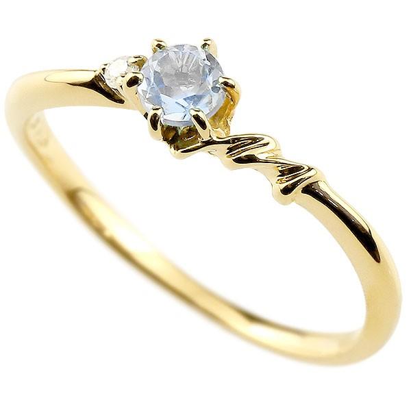 イニシャル ネーム M ピンキーリング ブルームーンストーン ダイヤモンド 華奢リング イエローゴールドk10 指輪 アルファベット 10金 レディース 6月誕生石