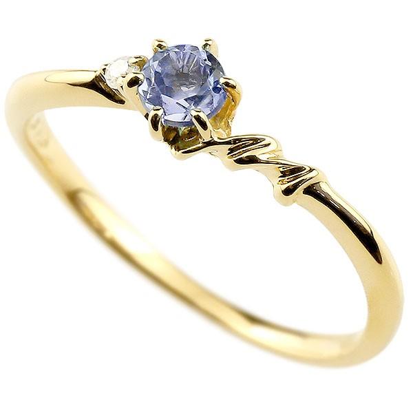 イニシャル ネーム M ピンキーリング タンザナイト ダイヤモンド 華奢リング イエローゴールドk10 指輪 アルファベット 10金 レディース 12月誕生石 人気