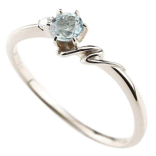 イニシャル ネーム N ピンキーリング アクアマリン ダイヤモンド 華奢リング ホワイトゴールドk10 指輪 アルファベット 10金 レディース 3月誕生石 人気