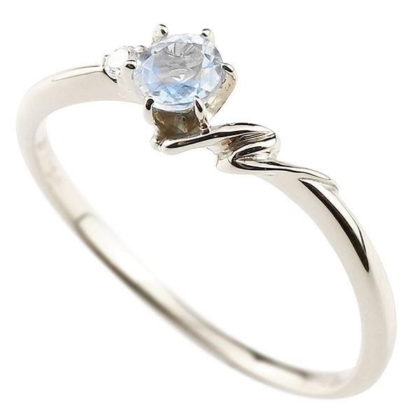 イニシャル ネーム N ピンキーリング ブルームーンストーン ダイヤモンド 華奢リング ホワイトゴールドk18 指輪 アルファベット 18金 レディース 6月誕生石