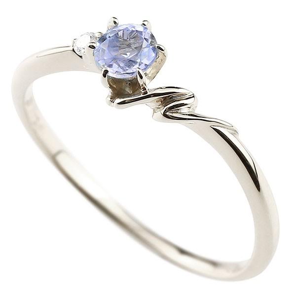 イニシャル ネーム N ピンキーリング タンザナイト ダイヤモンド 華奢リング プラチナ 指輪 アルファベット レディース 12月誕生石 人気 送料無料