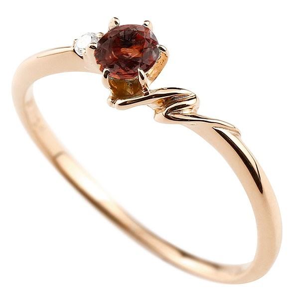 イニシャル ネーム N ピンキーリング ガーネット ダイヤモンド 華奢リング ピンクゴールドk10 指輪 アルファベット 10金 レディース 1月誕生石 人気 送料無料
