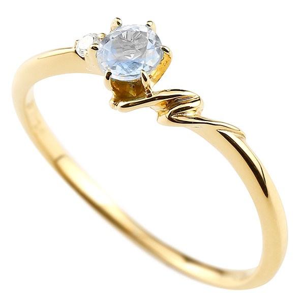 イニシャル ネーム N ピンキーリング ブルームーンストーン ダイヤモンド 華奢リング イエローゴールドk10 指輪 アルファベット 10金 レディース 6月誕生石