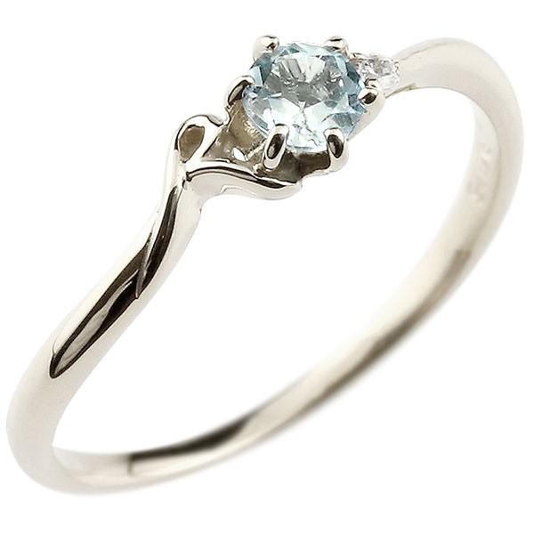 イニシャル ネーム R ピンキーリング アクアマリン ダイヤモンド 華奢リング ホワイトゴールドk10 指輪 アルファベット 10金 レディース 3月誕生石 人気