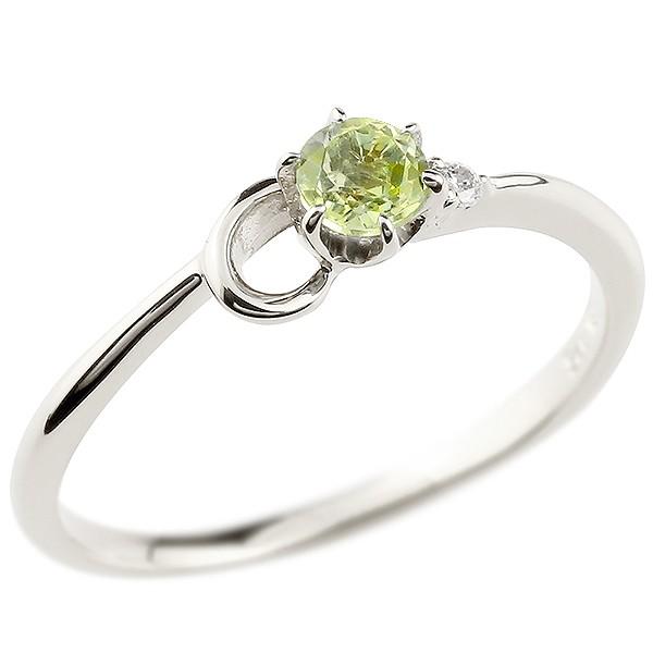 イニシャル ネーム C ピンキーリング ペリドット ダイヤモンド 華奢リング プラチナ 指輪 アルファベット レディース 8月誕生石 人気 送料無料