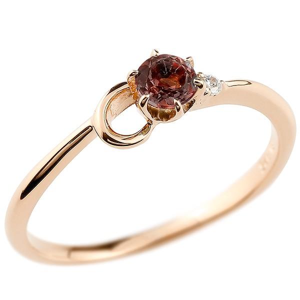 イニシャル ネーム C ピンキーリング ガーネット ダイヤモンド 華奢リング ピンクゴールドk10 指輪 アルファベット 10金 レディース 1月誕生石 人気 送料無料