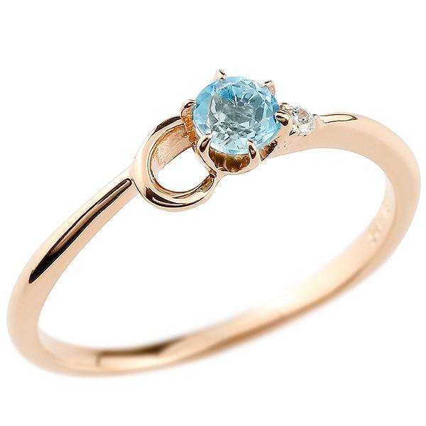 イニシャル ネーム C ピンキーリング ブルートパーズ ダイヤモンド 華奢リング ピンクゴールドk10 指輪 アルファベット 10金 レディース 11月誕生石 人気