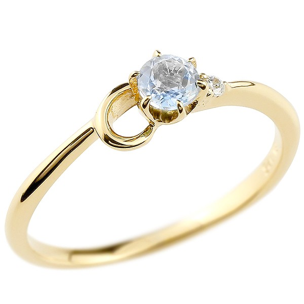 イニシャル ネーム C ピンキーリング ブルームーンストーン ダイヤモンド 華奢リング イエローゴールドk10 指輪 アルファベット 10金 レディース 6月誕生石