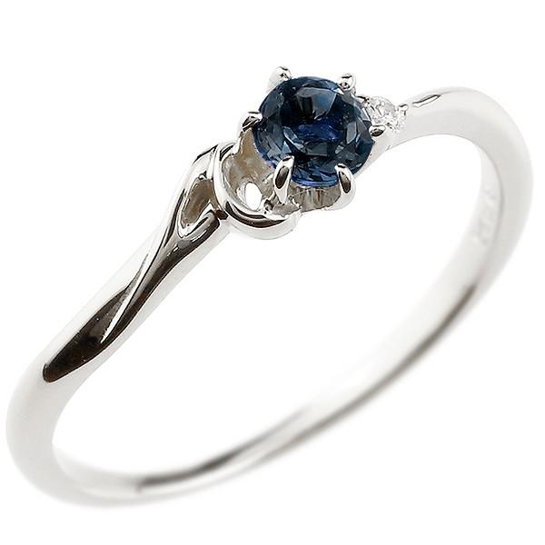 イニシャル ネーム A ピンキーリング ブルーサファイア ダイヤモンド 華奢リング シルバー 指輪 アルファベット レディース 9月誕生石 人気 送料無料