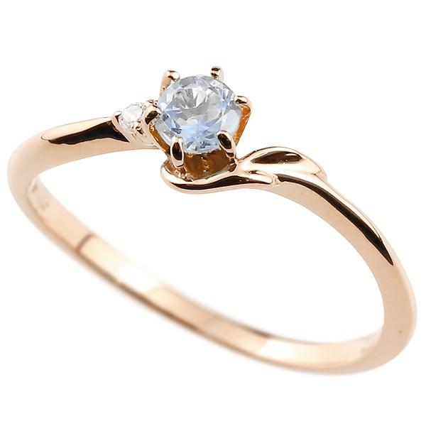 イニシャル ネーム F ピンキーリング ブルームーンストーン ダイヤモンド 華奢リング ピンクゴールドk10 指輪 アルファベット 10金 レディース 6月誕生石