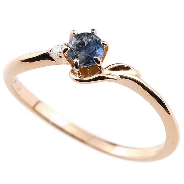 イニシャル ネーム F ピンキーリング ブルーサファイア ダイヤモンド 華奢リング ピンクゴールドk18 指輪 アルファベット 18金 レディース 9月誕生石 人気
